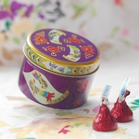 GAGA ! Free shipping Creativity round tin wedding  box, 7.5*7.5*H5(cm),candy box,gift box; 80pcs/lot,XFB1-3/purple