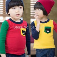 Free shipping 100%Cotton long-sleeve T-shirt male female child color block decoration bear pocket slim basic shirt CC023