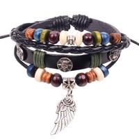 Wholesale New 2014 High Quality 3pcs Vintage Women wing Charm Bracelet multilayer Black Leather Braid Bracelets & Bangles W2102