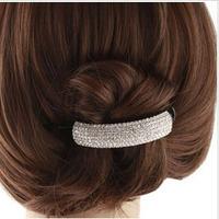 Korean Street Snap Trendy Full Shining Crystal Half Moon Plastic Hair Barrettes Fashion Hair Clips   SF349