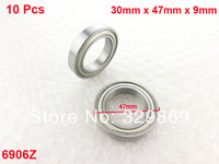 10 Pcs 6906Z 30mm x 47mm x 9mm Double Metal Shielded Deep Groove Ball Bearings