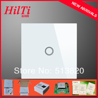 China Hilti EU Standard 1 Gang Touch Light Switch,Overload Protect Crystal Tempered Glass Panel  blue LED indicator AC110-240V