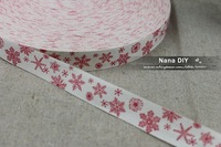 Wholesale Retro Zakka Handmade 100% Cotton Ribbon Sewing tape 20mm x30m - Christmas Red Snow- Free shipping