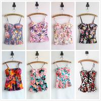 2014 summer women's multicolor vintage flower print tie-dyeing slim spaghetti strap corset vest sexy bustier crop tops Y-288