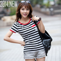 2014 new slim Women print stripes t-shirt female short-sleeve t shirts free shipping