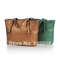 Europe and America brand genuine leather female large capacity single shoulder bag  woven handbag free shipping B-70