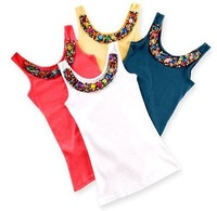 New Arrive Beading O-neck Slim Candy Color Lady Vest Wholesale free shipping