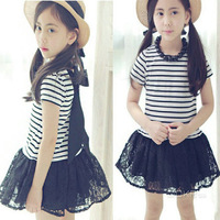 Retail 1 pcs new arrival 2014 summer autumn fashion casual baby girl dress princess striped high quanlity kids dresses for girls