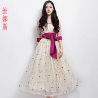 2014 New fashion bohemia chiffon dress, women's formal chiffon one-piece dress,print lace half sleeve long  princess dress