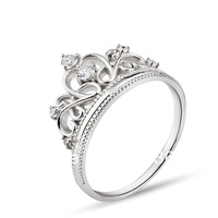 GNJ0515 High quality FREE SHIPPING Crystal Crown ring 925 Sterling silver Jewelry Eternity Wedding Ring for women