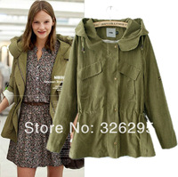 European New In Spring 2014 Military Style Army Green Hooded Long Thin Trench Coat Brand Women Fashion Casual Hoodie Windcheater