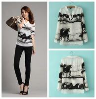 2014 spring new European style galloping horse ink silk feeling V-neck white shirt womeb's spring autumn shirt