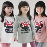 2014 spring child baby girls clothing bow long design long-sleeve T-shirt 33c  CC030A
