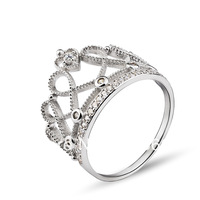 GNJ0519 New Promotion 925 CZ finger Ring 1pc Genuine 925 Sterling silver Jewelry Crown ring Wedding Jewelry for women