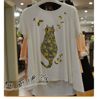 2014 spring new cat butterfly t-shirt printing loose big size female summer new short sleeve shirt