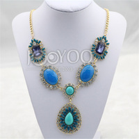 #618  2014 Fashion Luxury Blue Stone Charms Necklaces Eunro-American Statement Necklaces Free Shipping 3pcs/lot
