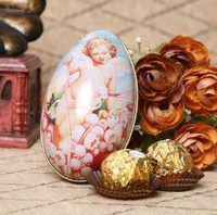 GAGA ! Free shipping Creativity egg shape tin wedding  box, 11*6.5*7(cm),baby candy box,gift box; 80pcs/lot,XFB2-7