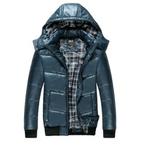 2014 Spring New Fashion Hoodies Men's Thick Cotton Jackets&Coats Color Blue & Gray MJ610