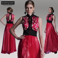 ems dhl free shipping %DORISQUEEN free shipping a line floor length red open back prom dresses