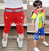 2014 Summer Baby Children Shorts Boys Stripe Belt Design Leisure Shorts Kids Clothing 5 PCS