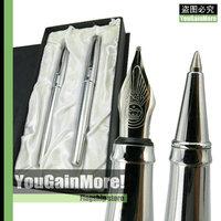 Duke 209 Stainless Steel Metal Fountain Pen + Roller Ball Pen Set Original Box