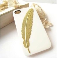 "Free shipping 10pcs/lot  DIY Handmade ""harry potter"" golden feathers bookmarks hard case cover For iPhone 5/5S studded case,"