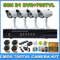 Home 700TVL CCTV Security System 8CH Full D1 DVR Outdoor Day 36leds Night IR Camera DIY Kit Surveillance System
