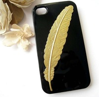 "Free shipping DIY Handmade ""harry potter"" golden feathers bookmarks hard case cover For iPhone 5/5S studded case,+retail Package"