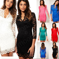 2014  party dress  British Gong Ting Leisi lace waist dress sexy V -neck beautiful
