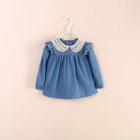 New 2014 two color beading long sleeve denim dress cotton girls dress summer children clothes