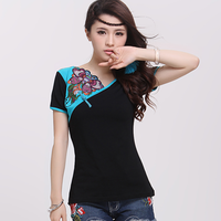 Summer color block 2014 embroidery slim women's short-sleeve t-shirt trend Women embroidered white o-neck black