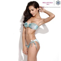 RELLECIGA 2014 New Animal Print Swimwear - Blue Leopard Print V Wire Bandeau Top and Adjustable Bottom Bikini