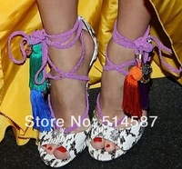 New 2014 High Heels Charm Summer Sandals For Women Open Toe Python Shoes Women Plus Size 10