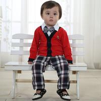 new 2014 Spring and autumn children set(Shirt+pants) fashion gentleman set  boy suit Preppy Style1pieces/lot size80-100cm 1color