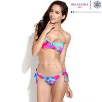 RELLECIGA 2014 New Abstract FoilPattern V Wire Bandeau Top Bikini Swimwear with Adjustable Bottom