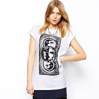 Free Shipping 2014 Women Spring Summer New Fashion Sun god print Short Sleeve O Neck Top t-shirts Chiffon t Shirt Feminina