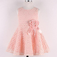 2014 Summer New girls dress,bow princess dress,Children lace dress free shipping