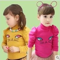 Female child t-shirt 2014 spring child t-shirt female child basic turtleneck shirt long-sleeve the cat 8d