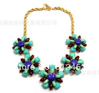 2014 HOT Women Necklace Foreign trade Fashion Jewelry Peacock blue fancy short necklace