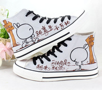 2014 spring Canvas shoes women's brief casual shoes lovers medium cut cartoon shoes size 35-43 Free shipping