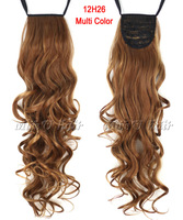 "24""(60cm) 12H26 Multi-color Long Curly Ribbon Drawstring Ponytail Clip In Hair extensions hairpiece"