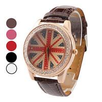 Free Ship British Flag Convex Brown Glass Face Dress Watch Imitation Diamond Setting Quartz Watch Wrist Watch 8 color relogio