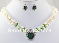 rows white pearl jade crystal necklace heart-shaped pendant earring sets