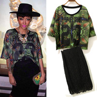 Free shipping Star in same abstract colorful pattern T + lace skirt outfi