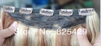 100g #8/613 brown mix blonde One Piece 5 Clips clip-in on 100% Remy Human Hair Extensions  free shipping straight