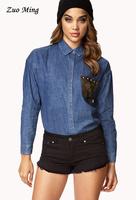 Blouses for women 2014 Camouflage rivet denim long sleeve comfort  women's shirt Dropshipping
