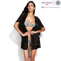 RELLECIGA  2014 Sexy Beachwear - Solid Black Sheer Caftan with Drawstring at Waistline