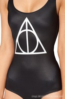 2014 New SEXY Womens European DEATHLY HALLOWS SWIMSUIT One Piece Digital Print Backless Wetsuit HY005
