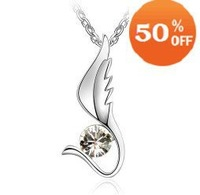 7 colors angel wing design white gold plated rhinestone crystal fashion pendant necklace jewelry for women C9305