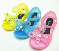 Free Ship Children Girls Jelly Sandals Shoes 2014 Summer Baby Girls bow Beach Sandals And Slippers Kids Cute Butterfly  Sandals